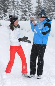 Kate and William playing in the snow. Photo credit -CBC