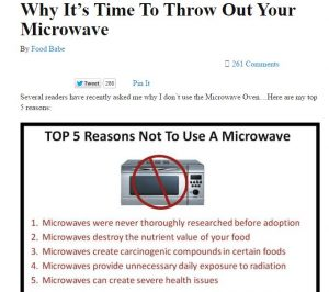 Food Babe does not use microwave ovens for no valid reason